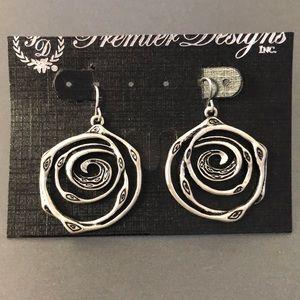 NEW Premier Designs SILVER SWIRL Earrings